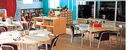 Chairs, desks & other furniture to facilitate learning in the classroom.