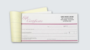 Gift certificate printing made easy with available templates.