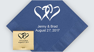 Personalized napkins & matches that are great for luncheons, fundraisers & more