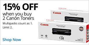 15% off 2 Canon Toners. Limit 2.  Multipacks count as 1