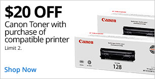 $20 off Canon Toner with purchase of compatible printer. Limit 2