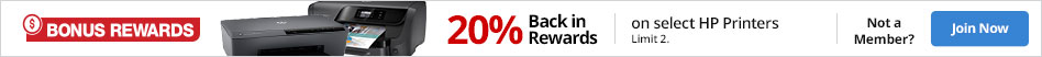 20% back in rewards on select HP Printers