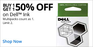 Buy 1, Get 1 50% off Dell Ink. Limit 2.  Multipacks count as 1