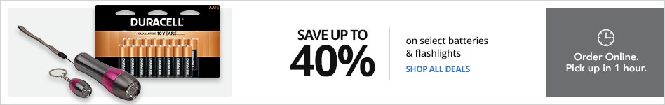 Save  up to 40% on batteries and flash lights & Save up to 30% on top-brand cleaning supplies