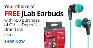 Free Earbuds with purchase of $50 Office Depot Brand Ink