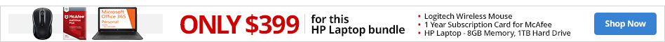 Only $399 on this HP Laptop bundle. 8GB Memory. 1TB Hard Drive.