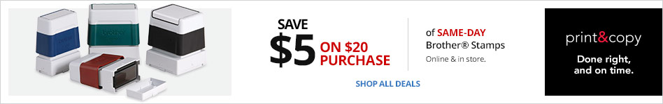 Save $5 on $20 Brother® Same-Day Stamps Online & In Store