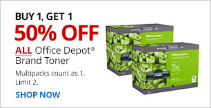 Buy 1, Get 1 50% off ALL Office Depot Brand Toner. Limit 2. Multipacks count as 1.