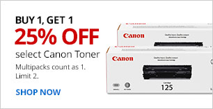 B1G1 25% Off Canon Toner. Multipacks count as 1. Limit 2.