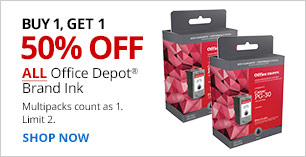 Buy 1, Get 1 50% off ALL Office Depot Brand Ink. Multipacks count as 1. Limit 2.