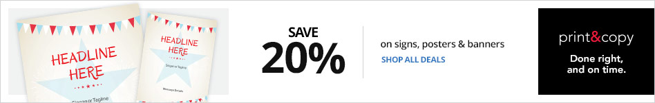 Save 20% on Signs, posters, banners