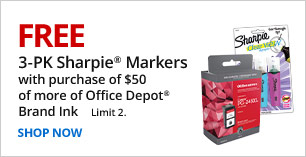 Free 3-pk Sharpies with $50 Office Depot Brand Ink