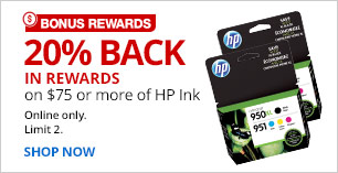 20% back in rewards on $75 or more of HP ink. Online only. Limit 2.