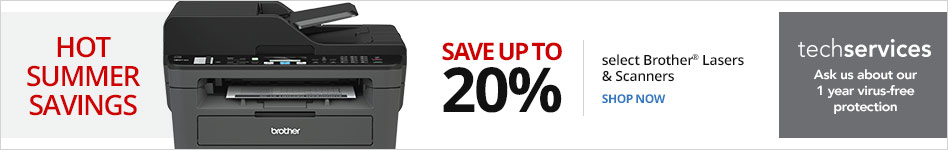 Summer Savings Select Brother Laser & Scanners save up to 20% off