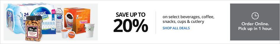 Save up to 20% on select beverages, coffee, snacks, cups & cutlery