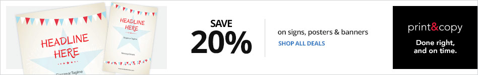 Save 20% on Signs, Posters and Banners