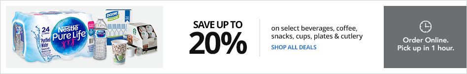 Save up to 20% on select Beverages, Coffee and Snacks AND select  cups, plates and cutlery