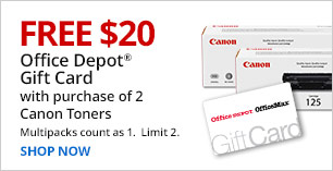 Free $20 Gift Card with purchase of 2 Canon Toners. Multipacks count as 1. Limit 2.