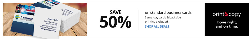 Save 50% on Standard Business Cards Same-day and Backprint excluded