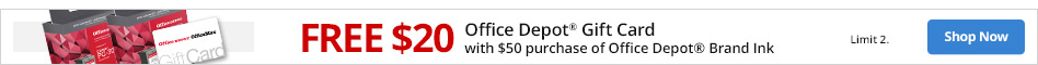 Free $20 Office Depot Gift Card with $50 purchase of Office Depot brand Ink. Limit 2.