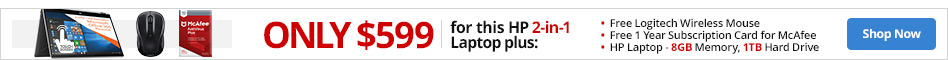 "ONLY $599 for an HP Laptop Bundle: HP Laptop, 15.6"""" Screen, AMD A10 Quad-Core, 8GB Memory, 1TB Hard Drive, Windows® 10 Home Office 365 Pre-installed 1 Year, Get a Logitech M325 Wireless Mouse (sku 282127) and a 1 Year Subscription Card for McAfee (sku 548058)"