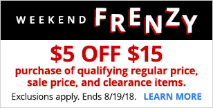 $5 off $15 purchase of qualifying regular price, sale price and clearance items