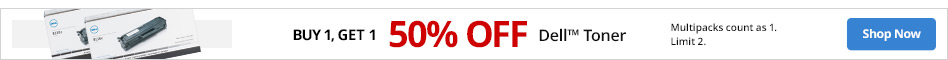 BOGO 50% Off Dell Toner. Limit 2. Multipacks count as 1.