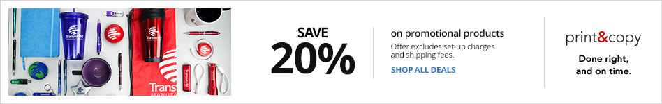Save 20% on Promotional Products Set-up fees and delivery charges excluded