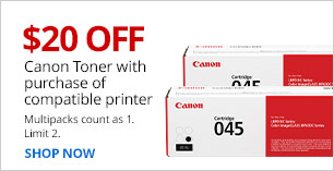 $20 off Canon Toner with purchase of compatible printer.  Limit 2.