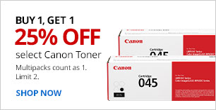 B1G1 25% off Canon Toner. Limit 2. Multipacks count as 1.