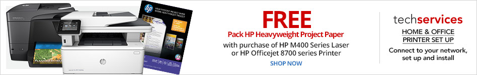 Free  pack of HP Heavyweight Project Paper  with purchase of HP M400 Series Laser or HP Officejet 8700 series Printer