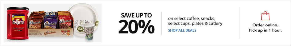 Save up to 20% on select coffee, snacks, cups, plates & cutlery