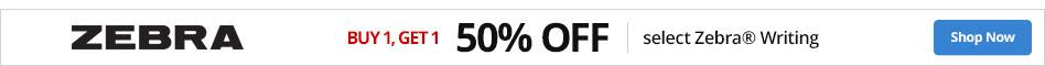 Buy 1 Get 1 50% off select Zebra® writing