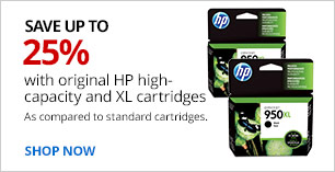 Save up to 25% with original HP high-capacity and XL cartridges as compared to standard cartridges