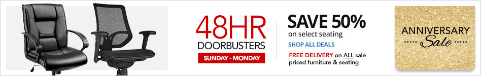 "48HR Doorbusters- Save  50% on select Seating"" In Store or  Free Delivery on ALL sale-priced furniture"