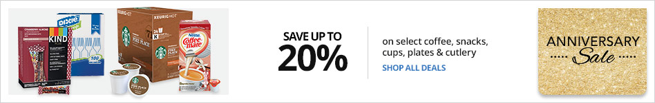Save up to 20% on select coffe, snacks, cups, plates & cutlery
