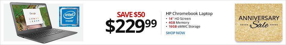 "HP Chromebook 14-ca020nr Laptop, 14"" Screen, Intel® Celeron®, 4GB Memory, 16GB eMMC, Google Chrome OS?. Save $50 for $229.99"