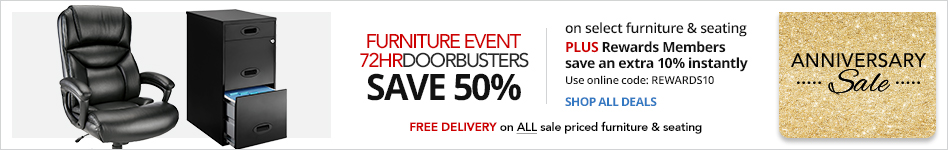 Furniture Event- Doorbusters: Save 50% on select Furniture & Seating PLUS Rewards Members save an extra 10% instantly- Use Online Code: REWARDS10 In Store or FREE Delivery on ALL Sale-Priced Furniture