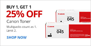 Buy 1, Get 1 - 25% off Canon Toner. Multipacks count as 1. Limit 2.