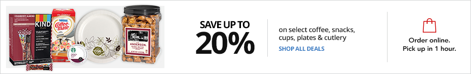 Save up to 20% on select Coffee, Snacks, cups, plates and cutlery