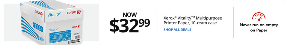 Now $32.99 Xerox® Vitality? Multipurpose Printer Paper, 10-ream case