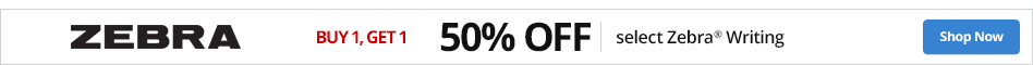 Buy 1 Get 1 50% select Zebra® writing