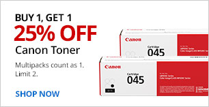Buy 1, Get 1,  25% off Canon Toner.  Limit 2. Multipacks count as 1.