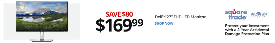 "Dell? 27"" Full HD LED Monitor, Thin Bezel, Space-Saving Base, SE2719H. Save 80 for 169.99"