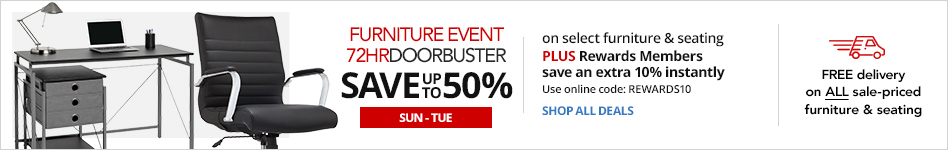 FURNITURE EVENT- 72HR Doorbusters- Save up to 50% on select Furniture & Seating PLUS Rewards Member save an extra 10% instantly. Use online code:  Rewards10