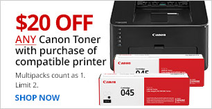 $20 off Canon Toner with purchase of compatible printer.  Limit 2. Multipacks count as 1.