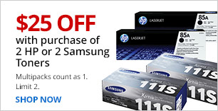 $25 off when you buy 2 HP or 2 Samsung Toners. Valid instore and online. Limit 2. Multipacks count as 1.