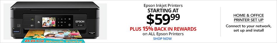 Epson Inkjet printers starting at $59.99 plus 15% back on all Epson printers