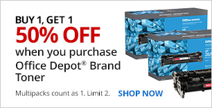 Buy 1, Get 1 50% off Office Depot Brand Toner. Multipacks count as 1. Limit 2.