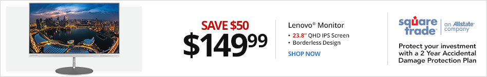 "Lenovo® L24q-20 23.8"" QHD IPS Monitor, 65D2GCC3US. Save $50 for $149.99"